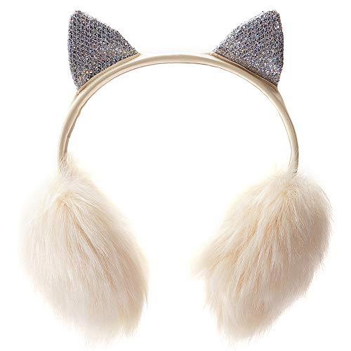 Gifts Treat Ohrenschützer Mädchen Ohrenschützer im Niedlichen Plüsch Design (creme weiße Katze) - Creme Plüsch