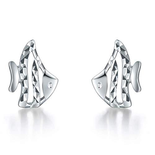 Beautiful jewelry Weißgold-Ohrstecker, stilvolle und niedliche Fisch-Form, Platin Damen Ohrringe Schmuck Geschenk, 1.28G -