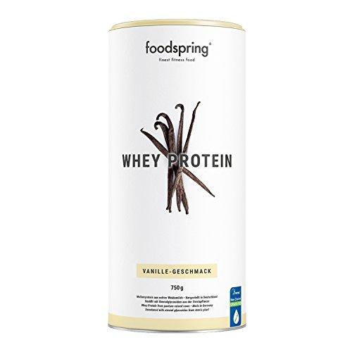 foodspring Whey Protein Pulver, 750g, Vanille, Eiweißpulver zum Muskelaufbau, Hergestellt in Deutschland mit sorgfältig ausgewählten Rohstoffen