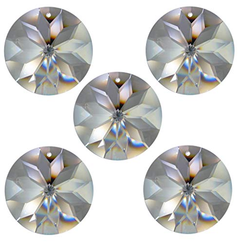 Cristal Arc-en-ciel Rivoli soleil Ø 30,40,45 mm Crystal 30% PbO ~ Feng Shui Attrape-soleil, Cristal, Crystal ~ Klar , Transparent, 5x 45mm