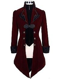 Veste Homme Longue Rouge et Noire Aristocrate en Velours avec Broderies et  col 99695dee63a7