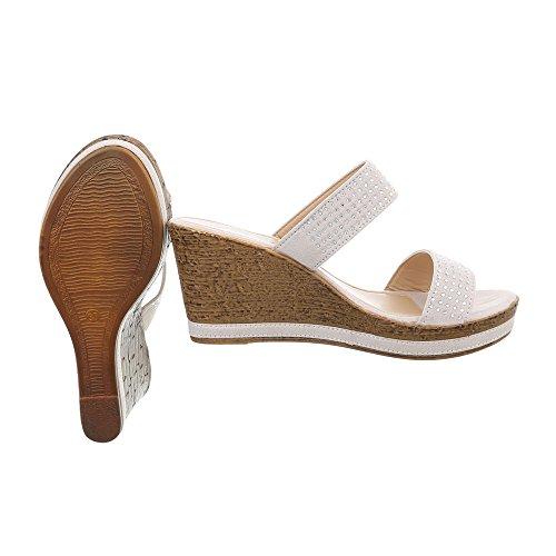 Ital-Design Scarpe da Donna Sandali Zeppa Infradito beige G1510