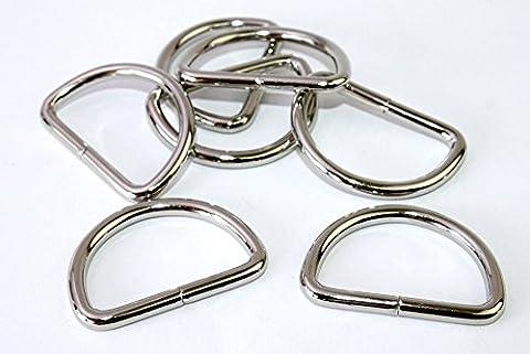 D-Ringe-Halbringe, 10 Stück 30x23x4mm *verchromt* für 30mm Gurt/Band geeignet. (Nähen Ringe)