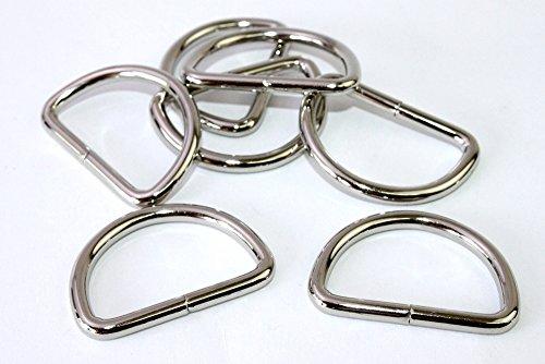 D-Ringe-Halbringe, 10 Stück 30x23x4mm *verchromt* für 30mm Gurt/Band geeignet.