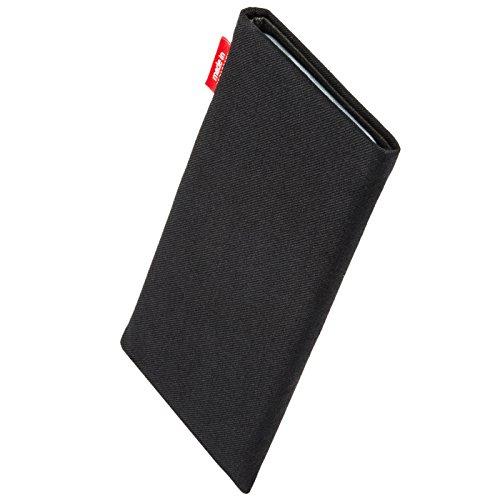 fitBAG Rave Schwarz Handytasche Tasche aus Textil-Stoff mit Microfaserinnenfutter für Apple iPhone 6 / 6S / 7 | Schlanke Hülle als edles Zubehör mit praktischer Reinigungsfunktion | Rundumschutz | Mad Rave Schwarz