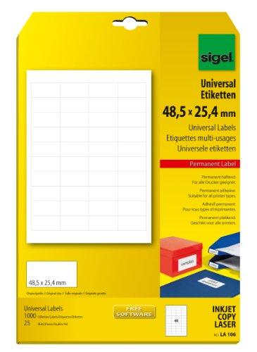 Sigel LA106 Mini-Etiketten weiß, 48,5 x 25,4 mm, z.B. Preisauszeichnung, 1000 Etiketten = 25 Blatt
