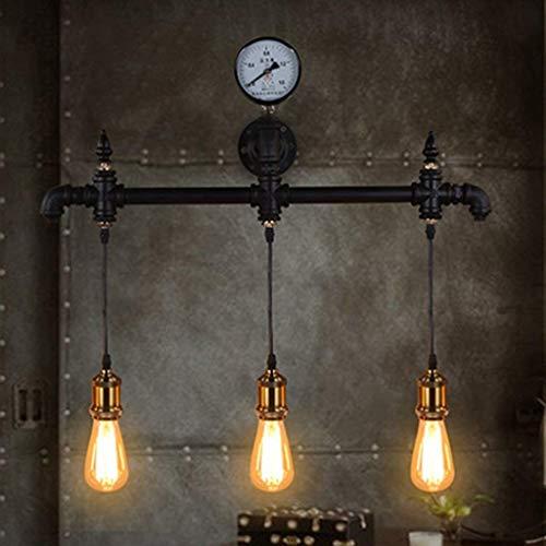 WHKHY Applique Murale Retro Loft Restaurant Barre de commodité Éclairage Café Étude nostalgique à 3 têtes E 27, 67 * 52 cm Neuf,67 * 52cm