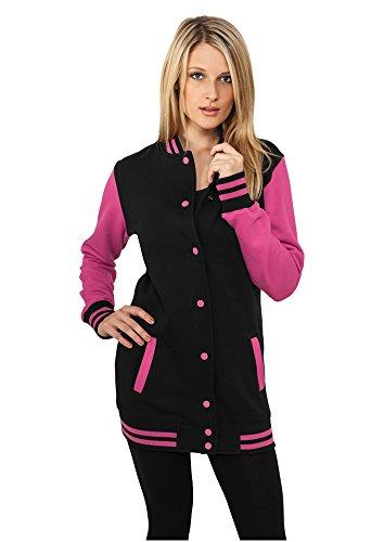 Urban Classics Damen Sweatjacke Ladies Long 2-tone College Sweatjacket Black/Fuchsia