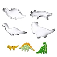 nuosen Dinosaur Cookie Cutters,4 PCS Cookie Stainless Steel Cutters Set Fondant Biscuit Cutters