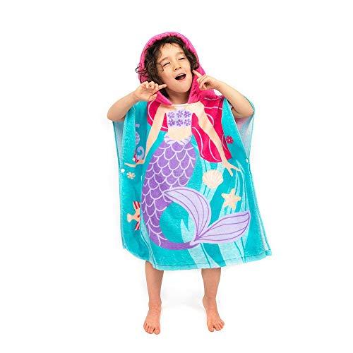 EXQUILEG 100% Baumwolle Saugfähige Kinder Badetuch Kapuzen Bademantel Bade-Poncho Kapuzenhandtuch mit Tiermotiv Kapuzenponchos Bad Strand FürJungen Mädchen (Meerjungfrau, 70x60cm)