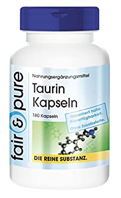 Taurine 650mg - In Pure Form - No Additives or Excipients - 180 Capsules from fair & pure