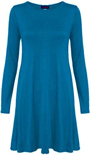 Chocolate Pickle ® Neue Frauen Plus Size Flare Swing-Kleid Langarmshirt Hanky Hem Jersey-Kleid 36-54 Teal