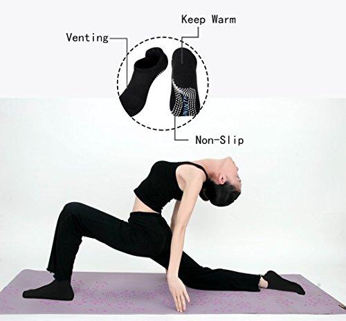 2 Paar non slip Yoga-Socken, zehenfrei, mit Antirutsch-Sohle, für Workout, Pilates, Ballett, Pilates, Fitness und Tanz für Frauen