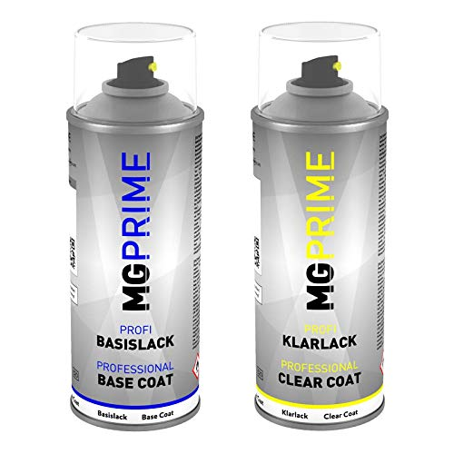 MG PRIME Autolack Sprühdosen Set DAF 1444627 6464 / P2611 Foden Sable Black 44494 Metallic Basislack Klarlack Spraydose 400ml