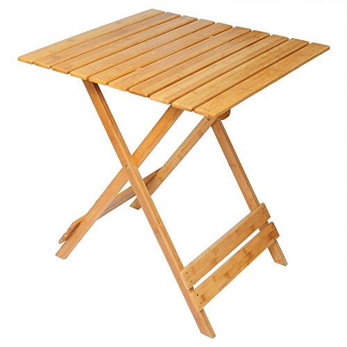 Woltu BT06br Tavolino per Giardino Tavolo Pieghevole Campeggio da Caffe' PC Tabelle di Bambù Fioriera Portatile Moderno 66x66x75 cm