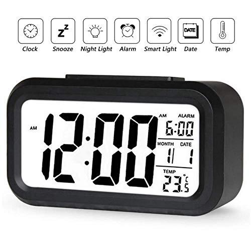 YIQI Despertador Digital inalámbrico con batería con Fecha, Temperatura, luz de Sensor Inteligente...