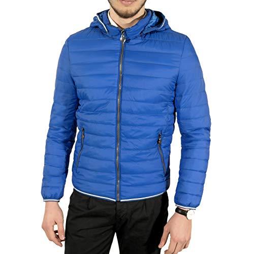 Tom Tyler Piumino Uomo 100 Grammi Giacca Giubbino con Cappuccio Blu Nero s m l XL XXL, XL, Blu Jeans