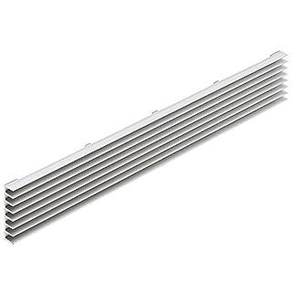 Lüftungsgitter Tür-Gitter Aluminium silber Abluftgitter mit schräg gestellten Lamellen | Belüftungsgitter eckig | Türlüftung 480 x 104 mm | MADE IN GERMANY | Möbelbeschläge von GedoTec®