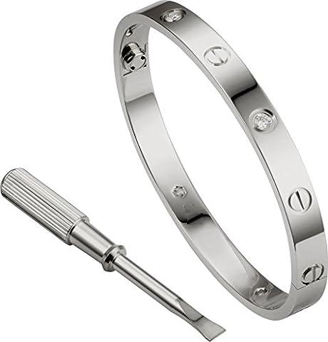 Silbernes Rosen-Gold überzogenes Love Armband-Armband-Armband-Liebe mit Schraubenzieher-Kristallschmucksachen (Silber Diamant (Opal Gold Überzogenes)