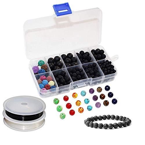 et) - 7 Heilung Chakra Armband, Anhänger, Halskette, Ohrringe Bastel-Set mit 300 Ätherisches Öl Aroma Diffuser Lavastein Perlen, 21 Edelsteine, 2 Rollen Elastischer Schnur mit Box ()