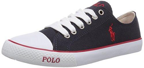 Polo Ralph Lauren Jungen Carson Low-Top, Blau (Navy Canvas/red), 35 EU (Polo Ralph Lauren Sneaker Kinder)