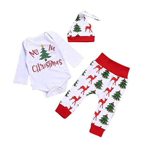 WINWINTOM - Weihnachten Neugeborene Kinder Baby Mädchen Outfits Kleidung T-Shirt Tops + Lange Hosen + Hut Set (0-6 Monate, Rot)