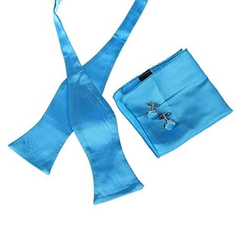 DBB3E01F Dodger Blue Plain Father Woven Microfiber Self Tie Bow Tie Hanky Cufflinks Set Friendship Gift By Dan Smith