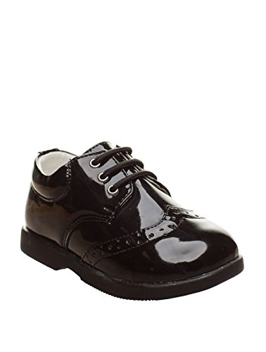Paisley of London - Zapatos de Vestir Negros para niños - Negro, 5 Child