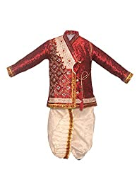 JBN Creation Boys Maroon Banarasi Brocade Zardosi Embroidered Dhoti Kurta
