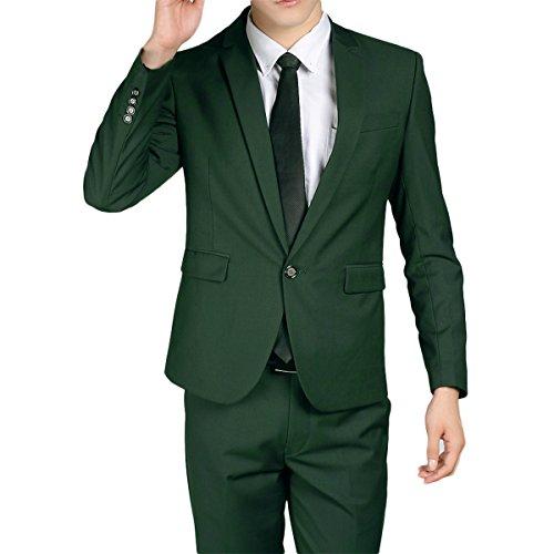 Costume Homme Classique Veste Elégant Pantalon Bien Coupé Blazer 2 Pièces … Vert foncé