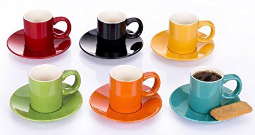 Juego de 6arco iris taza de café Espresso y platillos–6colores