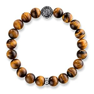 Thomas Sabo Unisex Bracelet Ethnic Tiger's Eye Brown 925 Sterling Silver, Blackened A1679-826-2