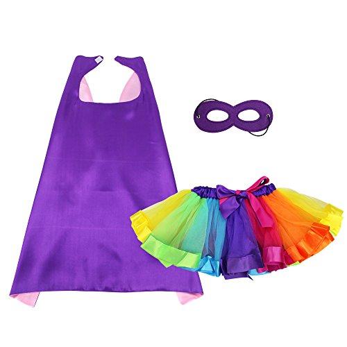 Superhelden Kostüm Zeichnungen - Superheld Umhang und Maske mit TUTU Kostüm für Mädchen Prinzessin verkleiden sich Kostüme