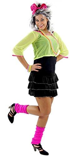 Jahre 80er Pop Kostüm Party - Foxxeo Sexy 80er 90er Jahre Neon Party Kostüm für Damen mit Kleid und Netz Shirt Größe M