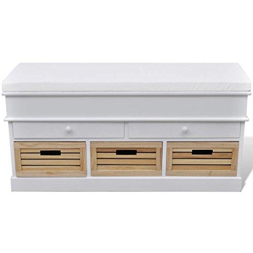 Lingjiushopping Bank Lagerung Eingang weiß, mit Matratze, Schubladen und Körben Farbe: weiß Material des Rahmens: Holz Paulownia und Sperrholz