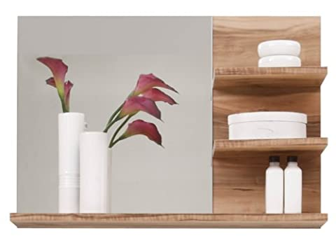 Furnline 1259-401-60 Cancun Walnut Satin Bathroom Furniture Mirror Shelf, Brown
