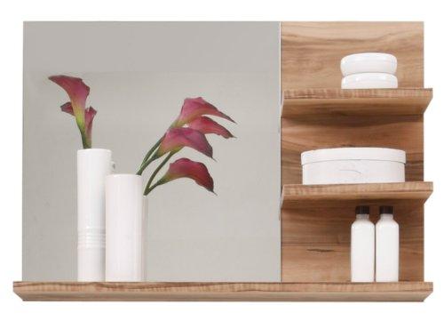 Trendteam 1259-401-60 Cómoda para Muro de Baño con Espejo Cancún en Nogal Satinado, 72 x 57 x 20 cm