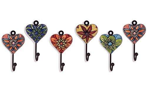 6 Garderobenhaken mit Herz Metall - Keramik