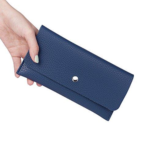 """JINYJIA, borsa in pelle mini, borsa per piccoli messaggi, portafogli donna, porta carte tasca con cerniera, 7.5 """"x 3.7"""", nero Blu"""