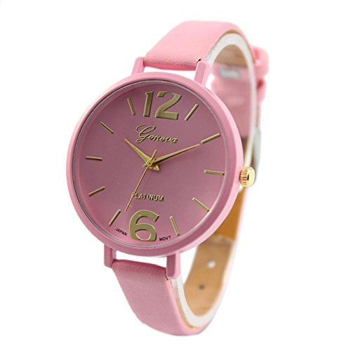 Frauen-beiläufige Dame-Kunstleder-Quarz-analoge Armbanduhr Genf Damenuhr Fashion Cute Candy Farbe Blau-Pink Farbverlauf Kleid Uhr PU Lederband Analog Quarz Uhr Proumy (Rose Gold Luxus-uhr Genf)