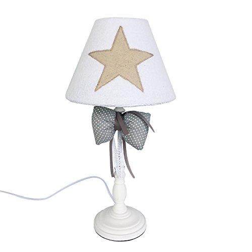 Rebecca Mobili Abat-Jour Lampe à Poser Blanc Beige Gris Bois Tissu Design Shabby Chic Chambre d'Enfants Salon Max 40 W E14 GLS - 45 x 23 x 23 cm (H x L x P) -Art. RE6025