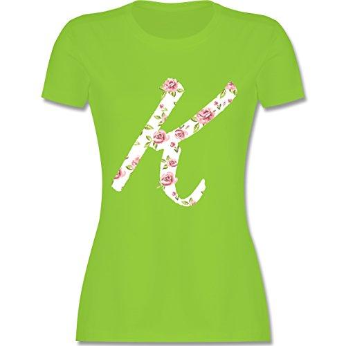 Anfangsbuchstaben - K Rosen - tailliertes Premium T-Shirt mit Rundhalsausschnitt für Damen Hellgrün