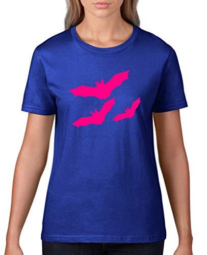 Comedy Shirts - Fledermause - Halloween - Damen T-Shirt - Royalblau/Pink Gr. S (S Halloween Tochter Pink)