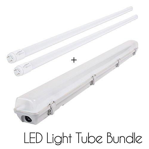 LED Röhre Leuchtstoffröhre Licht Tube Paket mit IP 65 Armatur ledus Premium Qualität Umweltfreundlich privaten und kommerziellen CREE Beleuchtung mit 3 Jahren Garantie, Double 4FT LED T8 Tube + IP65 Casing 18.0 watts (5 Leuchtstofflampen Ballast)