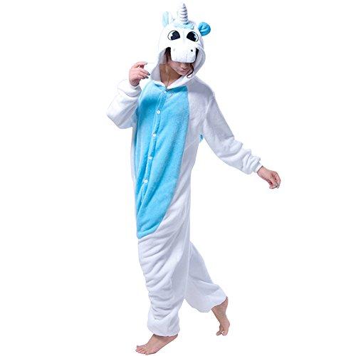 Einhorn Kostüm Erwachsene Tier Jumpsuits Onesie Pyjama Nachthemd Nachtwäsche Cosplay Overall Hausanzug Fastnachtskostuem Karnevalskostüme Faschingskostüm Kapuzenkostüm (M: Für Ihre Höhe :161 - 170cm, (Kostüm Höhen Keine)