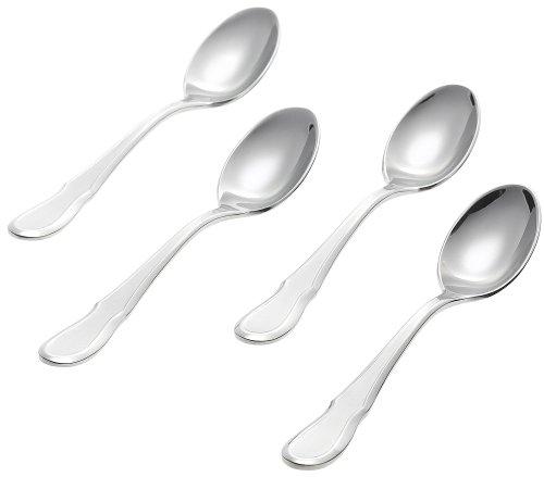 Ginkgo International Celine Platinum Stainless Steel Demitasse Spoons, Set of 4 by Ginkgo International Ginkgo Demitasse