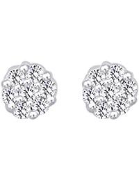 42ecc3716e95 Pendientes de tuerca de oro blanco sólido de 14 ct 585 con corte redondo de  diamante