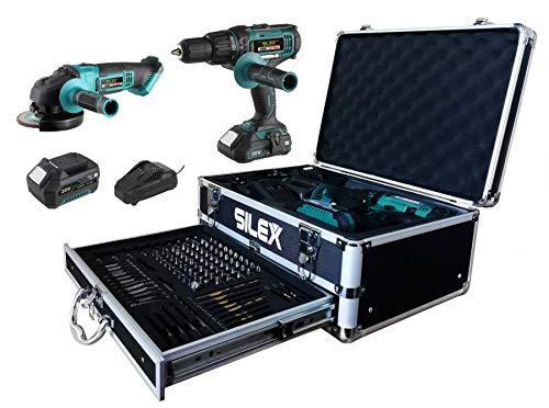 Silex® - Estuche taladro atornillador percutor + amoladora de 20 V con 2 baterías de iones de litio...