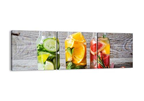 Grapefruit-diät (Bild auf Leinwand - Leinwandbilder - DREI Teile - Breite: 150cm, Höhe: 50cm - Bildnummer 3155 - dreiteilig - mehrteilig - zum Aufhängen bereit - Bilder - Kunstdruck - CA150x50-3155)