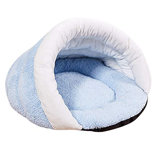Yowablo Welpen Haustier Katze Hund weiches warmes Nest Zwinger Bett Cave House Schlafsack Mat Pad Zelt (45 * 35 * 25cm,2- Hellblau)